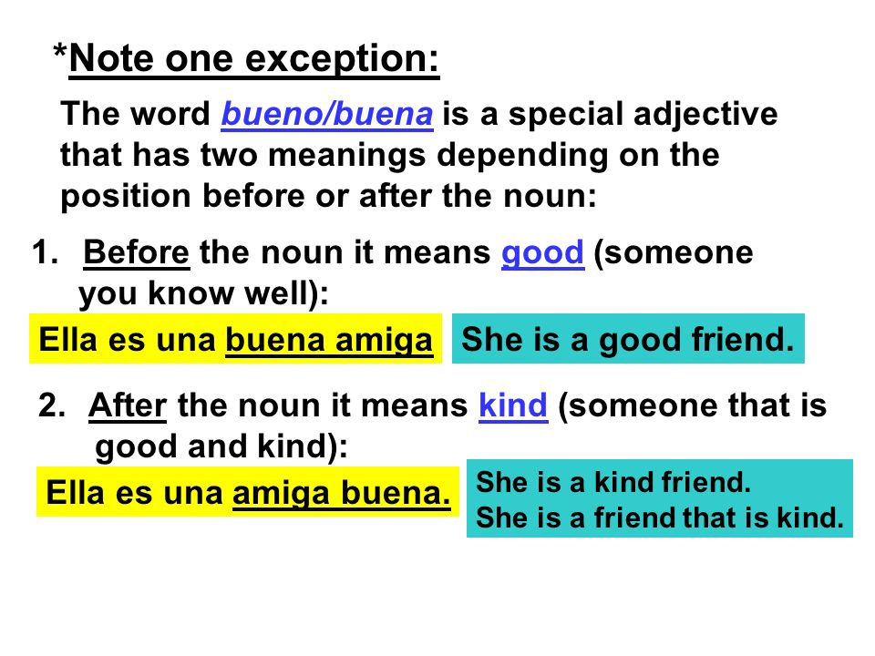 *Note one exception: The word bueno/buena is a special adjective