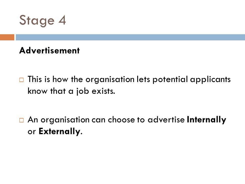 Stage 4 Advertisement. This is how the organisation lets potential applicants know that a job exists.