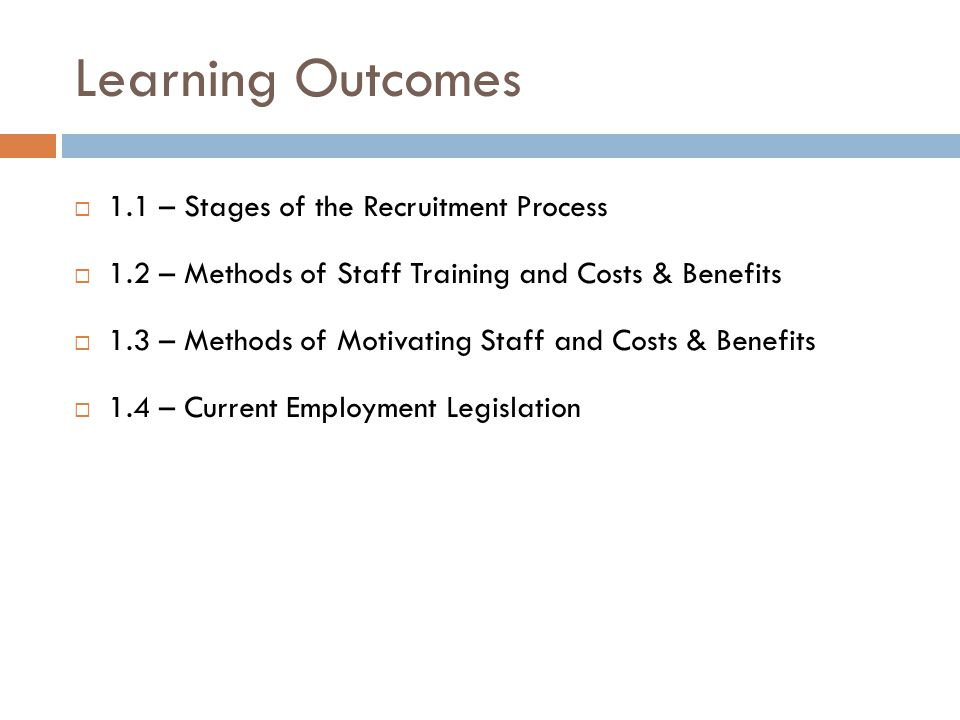 Learning Outcomes 1.1 – Stages of the Recruitment Process