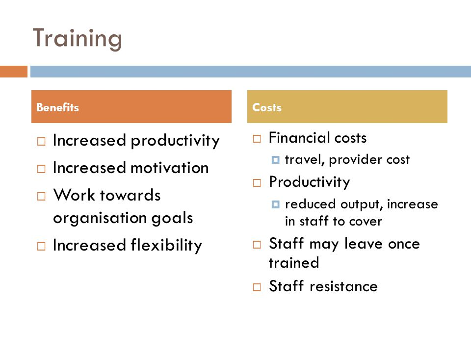 Training Increased productivity Increased motivation