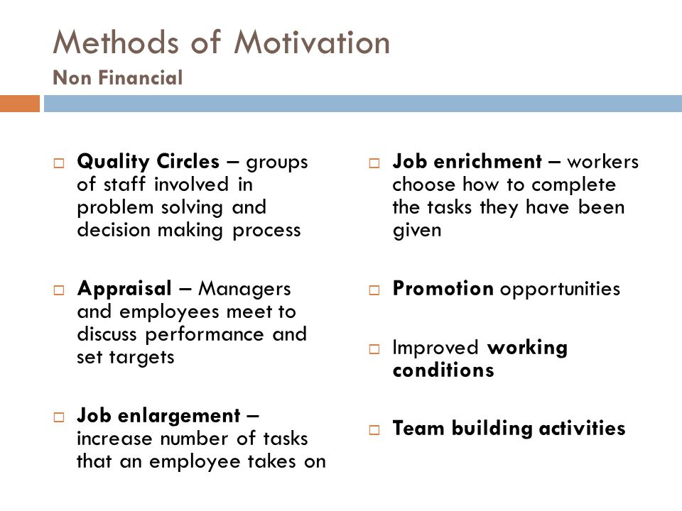Methods of Motivation Non Financial