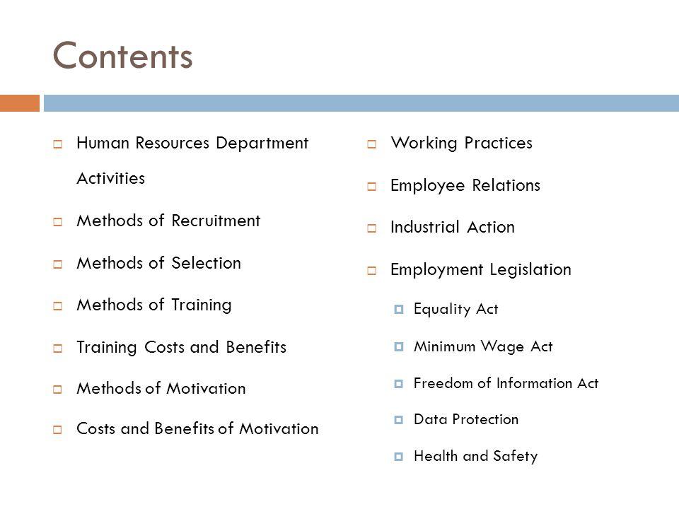 Contents Human Resources Department Activities Methods of Recruitment