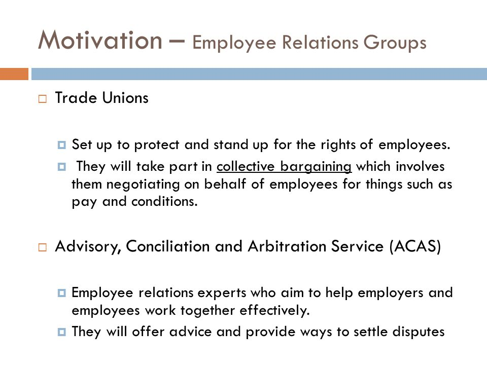Motivation – Employee Relations Groups