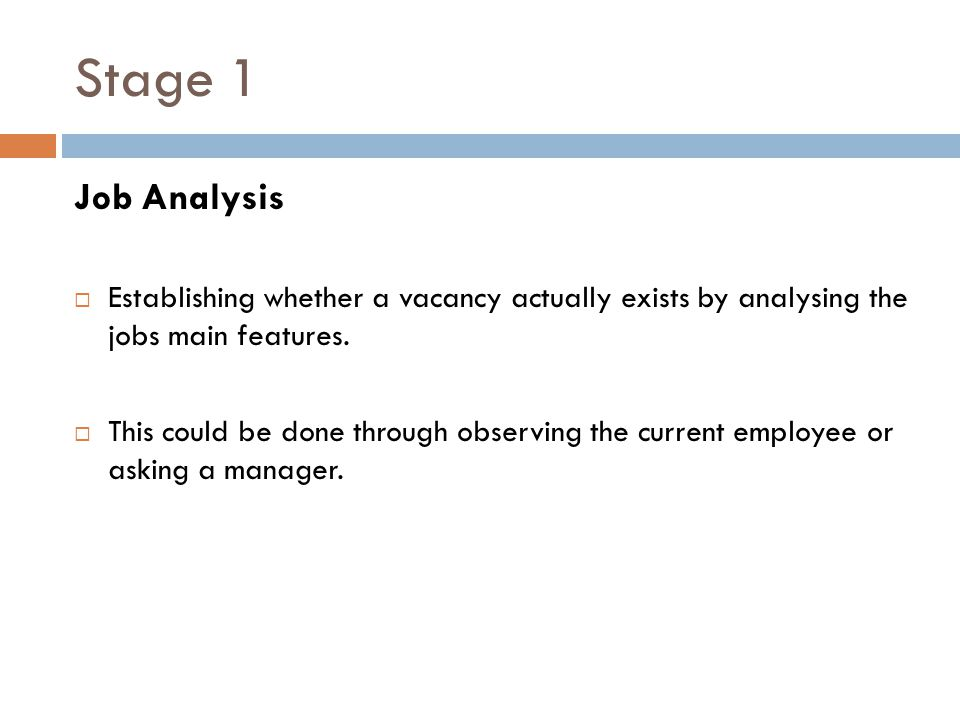 Stage 1 Job Analysis. Establishing whether a vacancy actually exists by analysing the jobs main features.