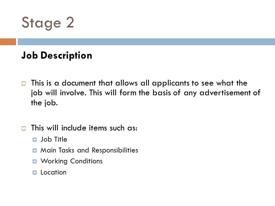 Stage 2 Job Description.