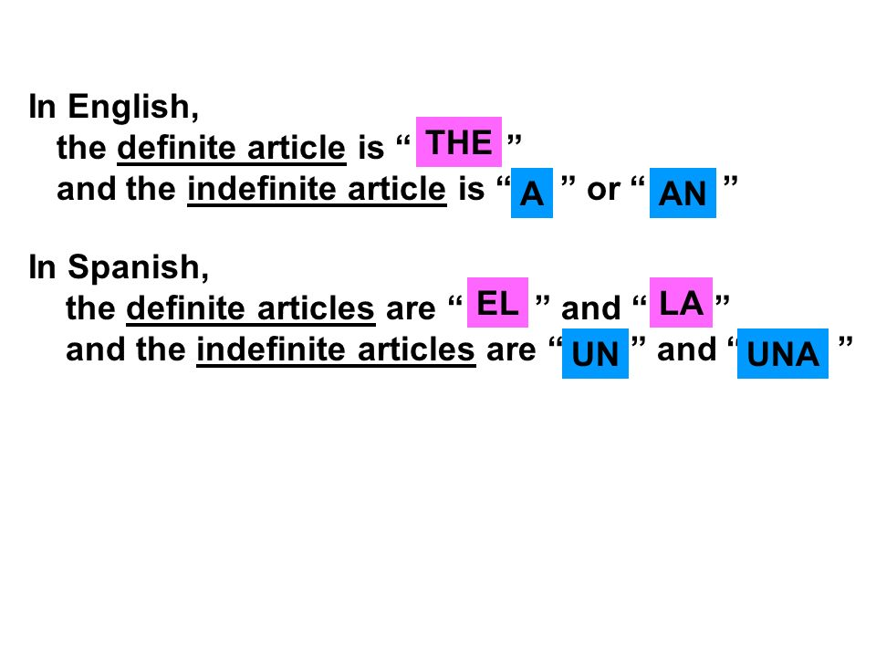 In English, the definite article is and the indefinite article is or