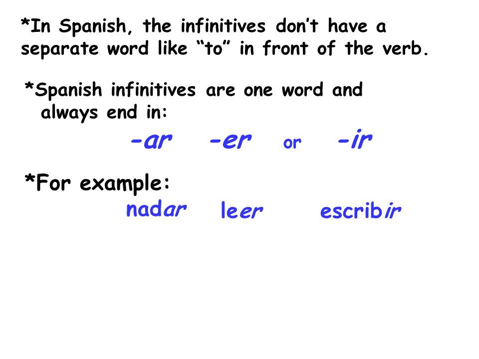 -ar -er or -ir *For example: nadar leer escribir