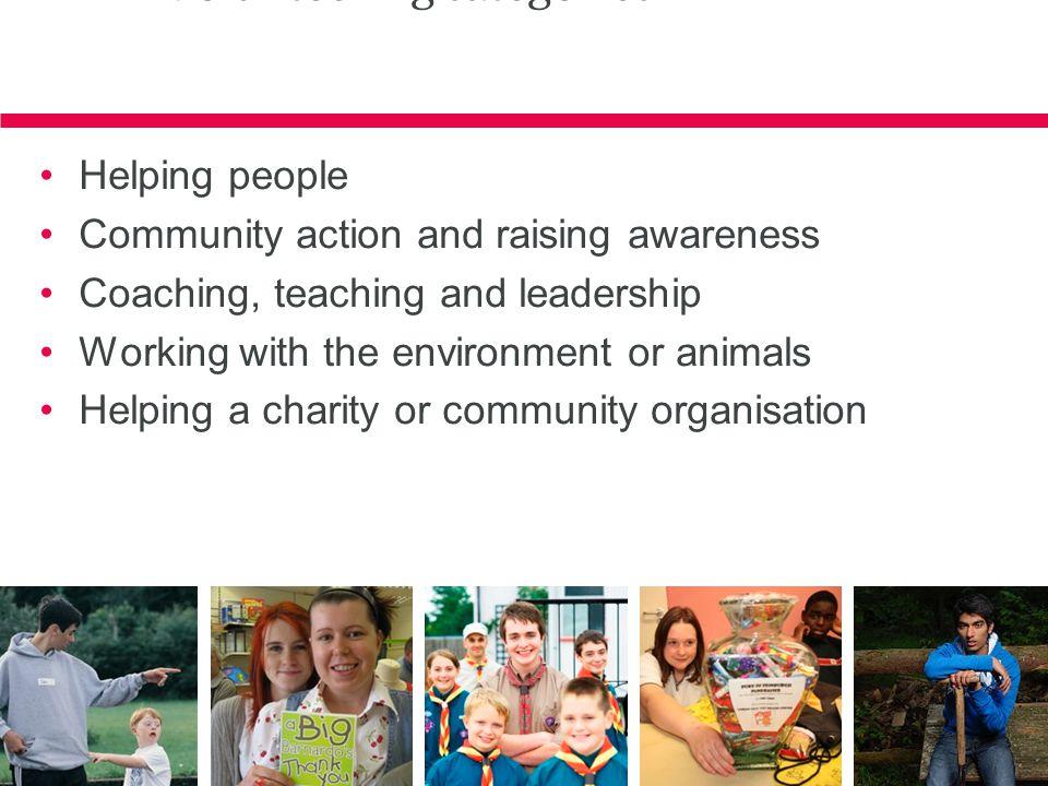Volunteering categories