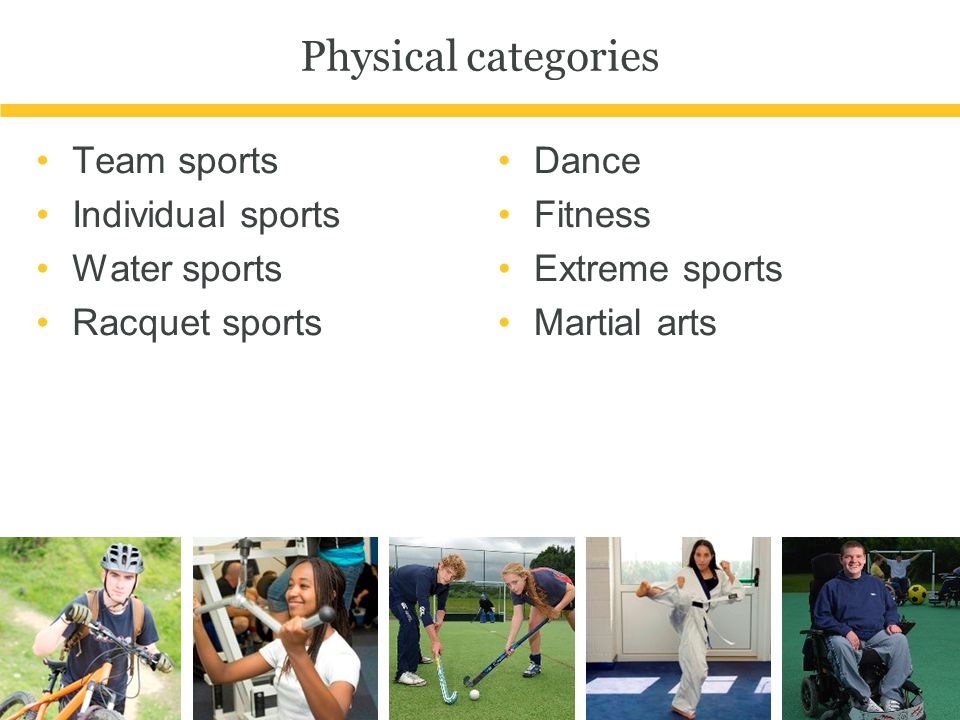 Physical categories Team sports Individual sports Water sports