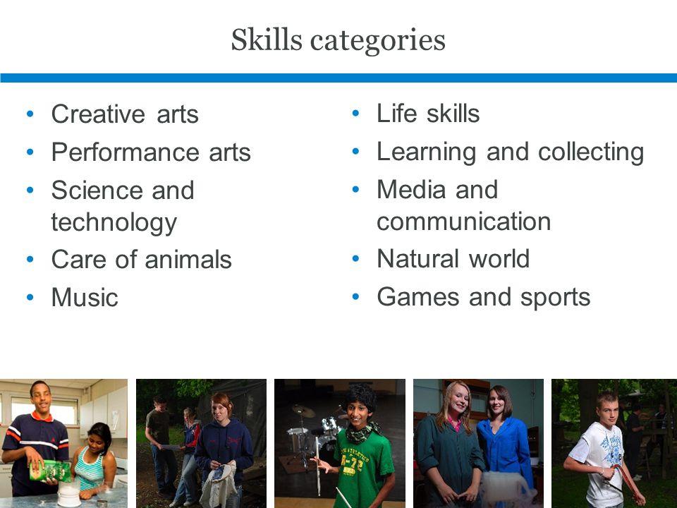Skills categories Creative arts Life skills Performance arts