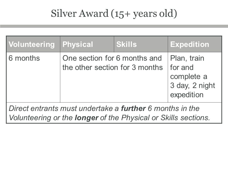 Silver Award (15+ years old)