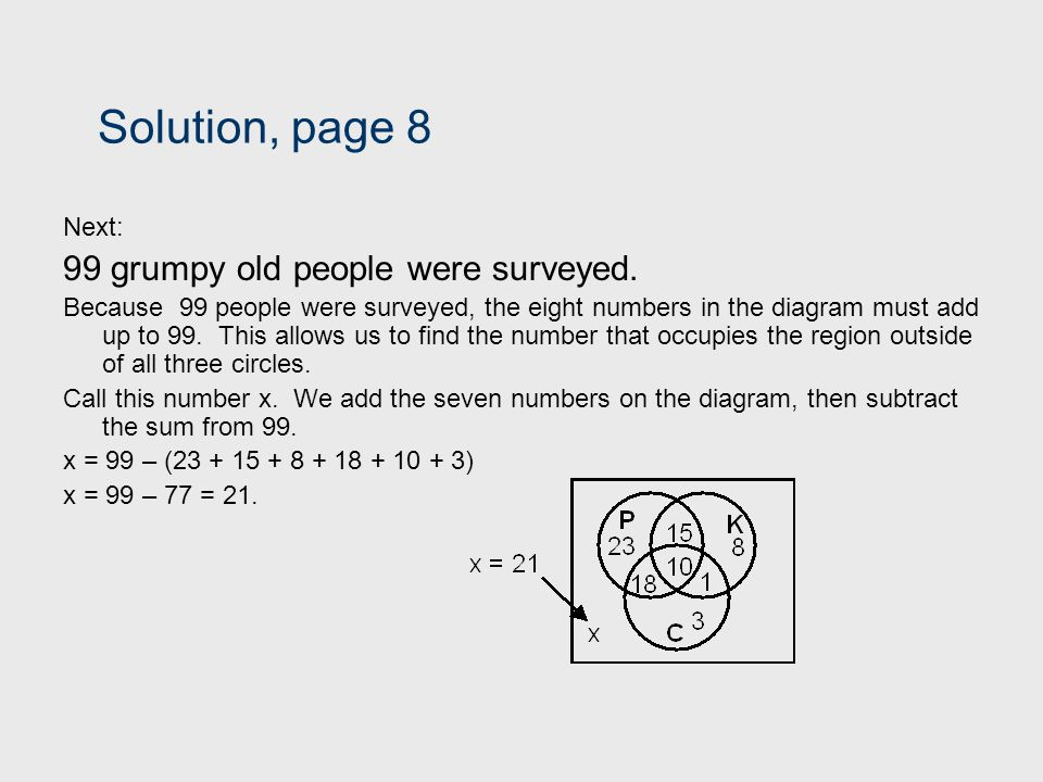 Solution, page 8 99 grumpy old people were surveyed. Next: