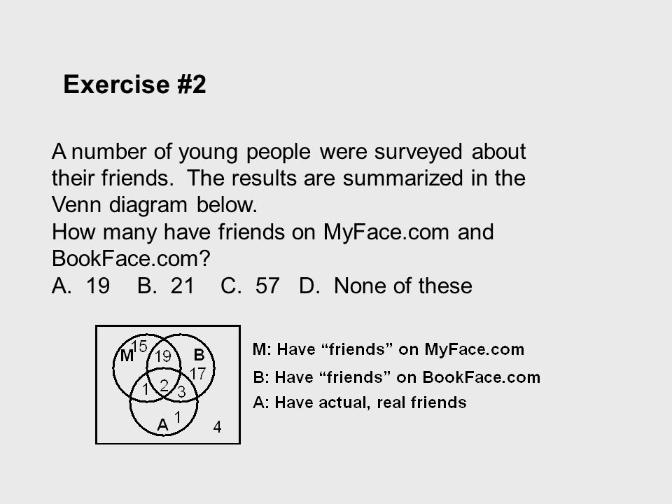 Exercise #2 A number of young people were surveyed about their friends. The results are summarized in the Venn diagram below.