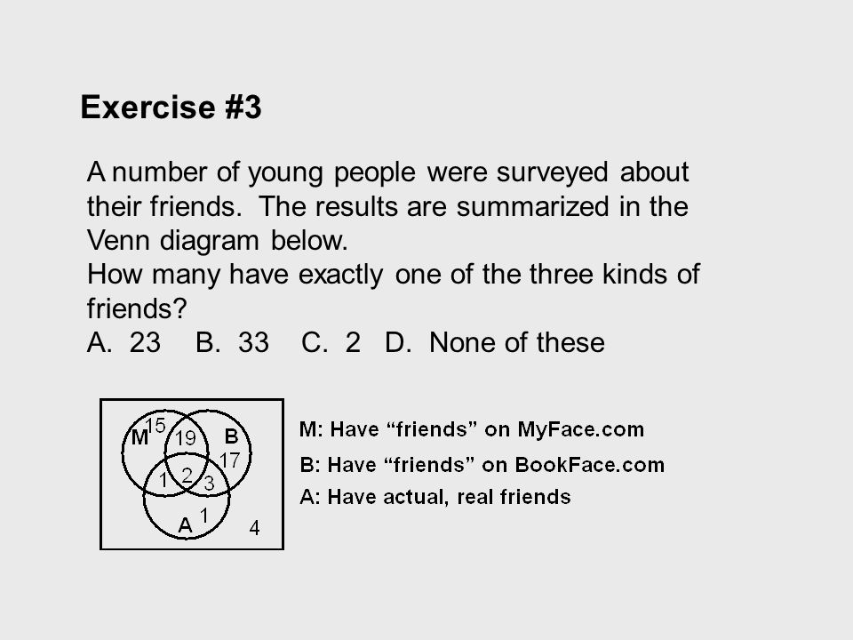 Exercise #3 A number of young people were surveyed about their friends. The results are summarized in the Venn diagram below.