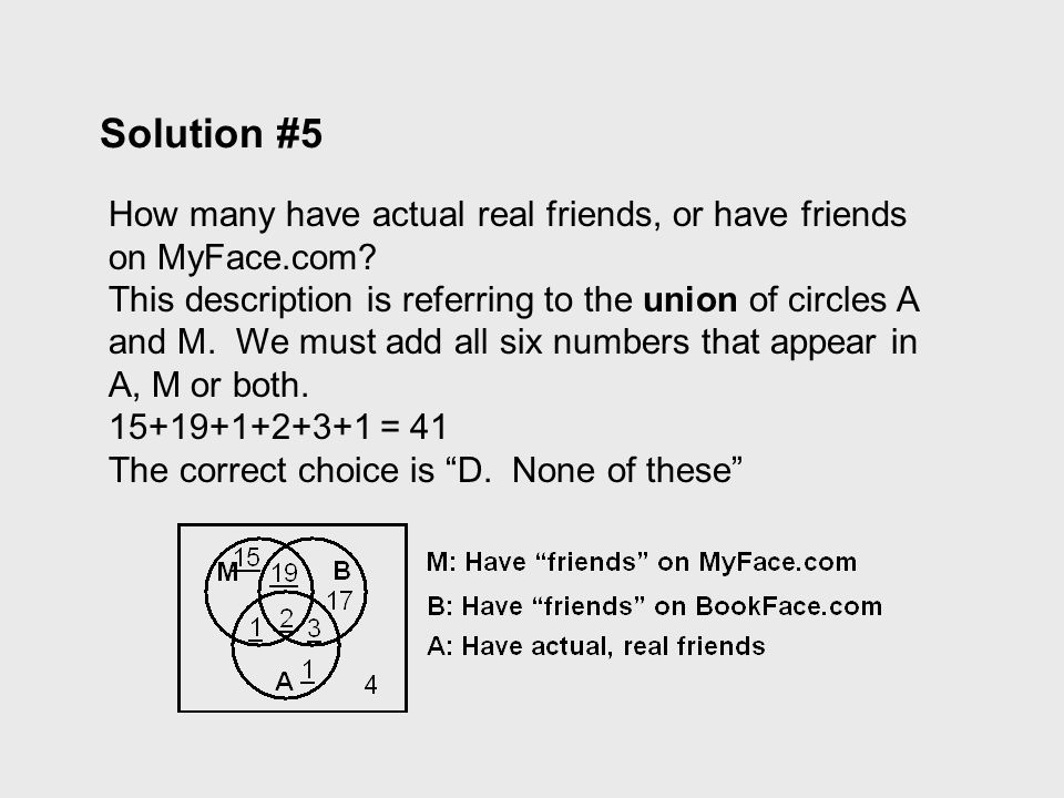 Solution #5 How many have actual real friends, or have friends on MyFace.com