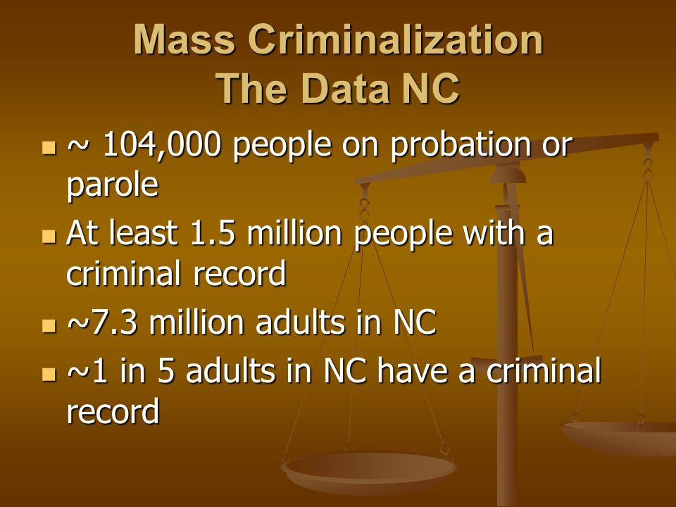Mass Criminalization The Data NC