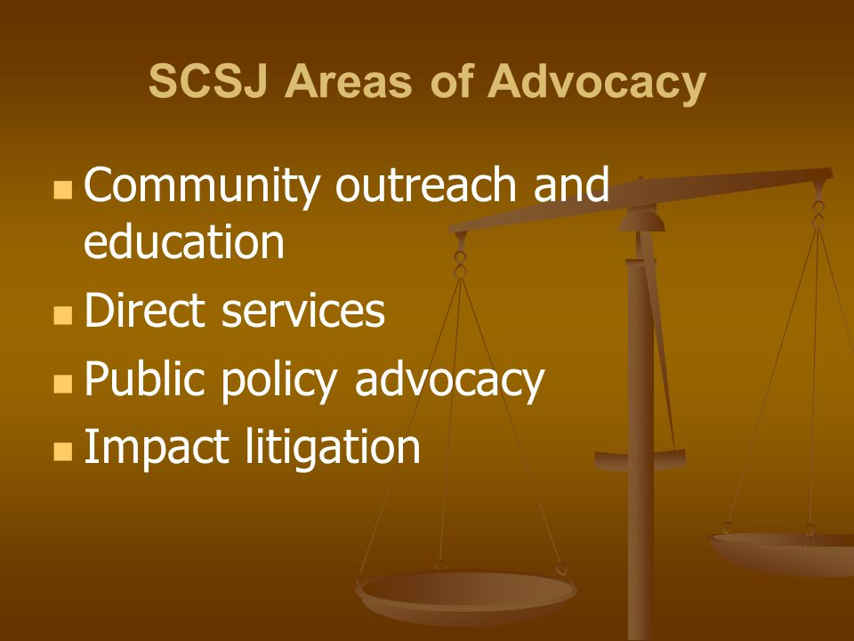SCSJ Areas of Advocacy Community outreach and education. Direct services. Public policy advocacy.