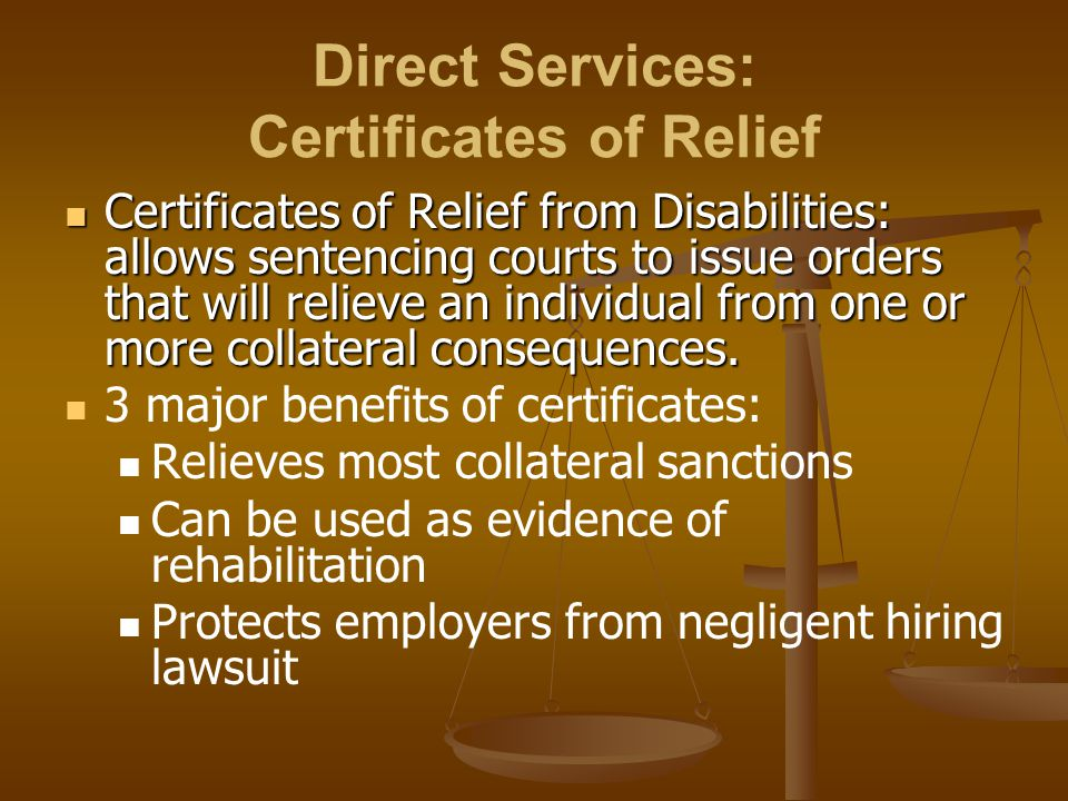 Direct Services: Certificates of Relief