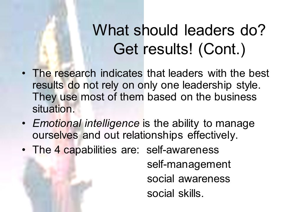 What should leaders do Get results! (Cont.)