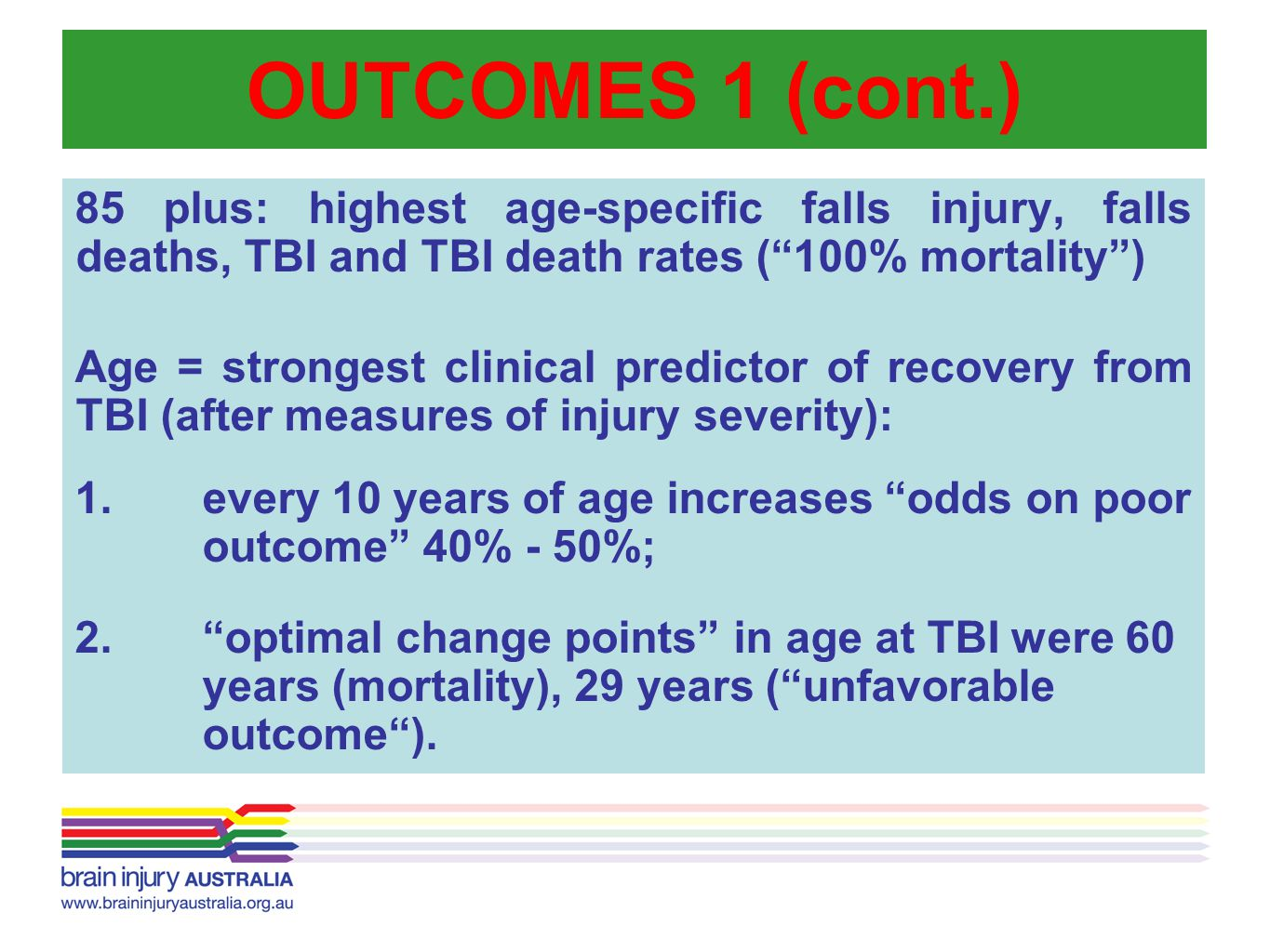 OUTCOMES 1 (cont.) 85 plus: highest age-specific falls injury, falls deaths, TBI and TBI death rates ( 100% mortality )