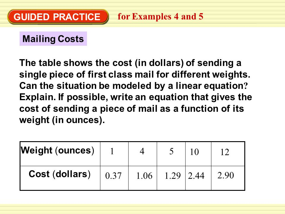 GUIDED PRACTICE for Examples 4 and 5. Mailing Costs.