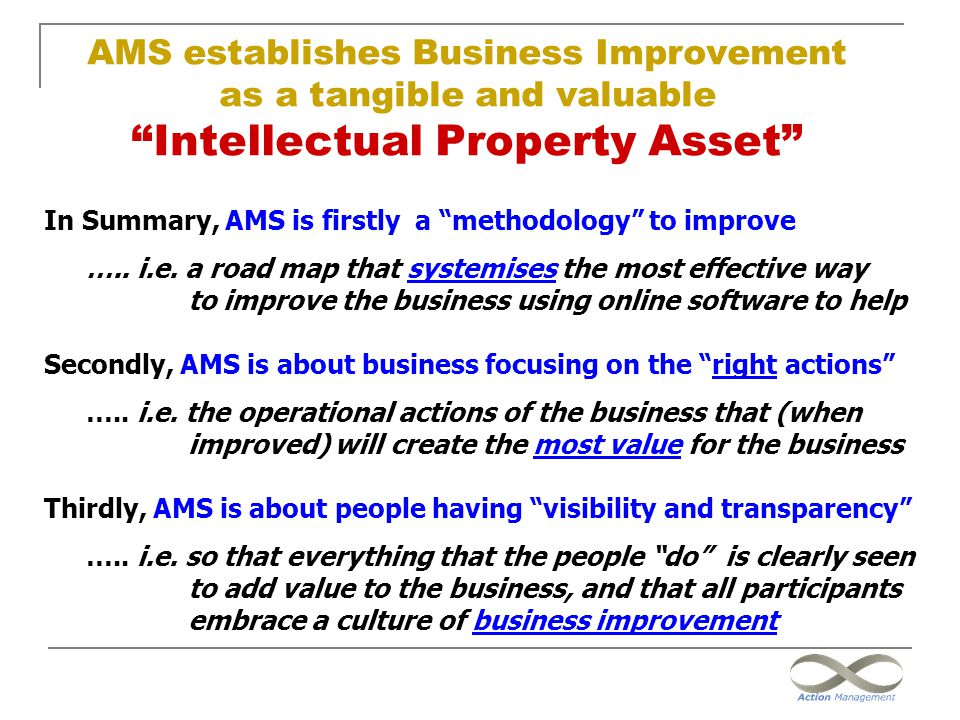 AMS establishes Business Improvement as a tangible and valuable Intellectual Property Asset