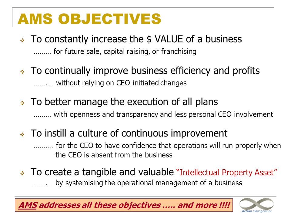 AMS addresses all these objectives ….. and more !!!!