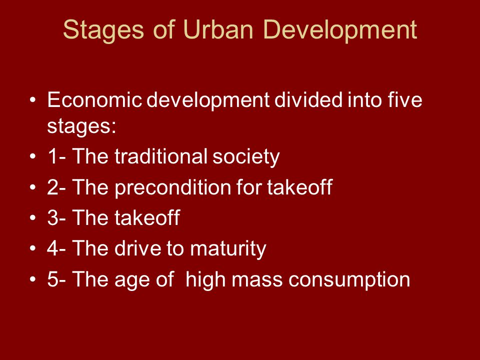 Stages of Urban Development