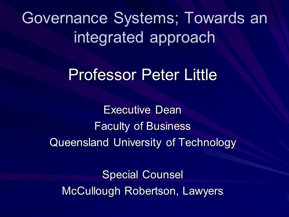 Governance Systems; Towards an integrated approach