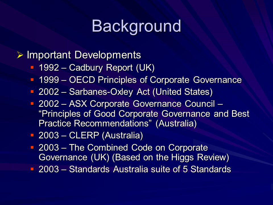 Background Important Developments 1992 – Cadbury Report (UK)