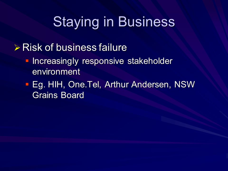 Staying in Business Risk of business failure