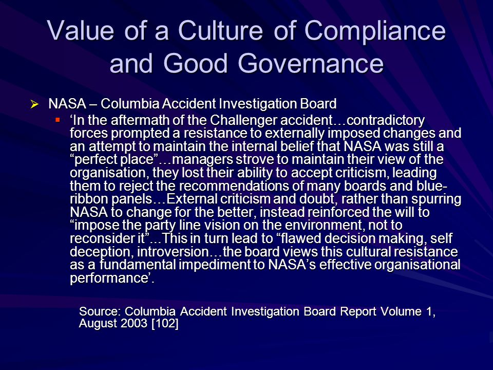 Value of a Culture of Compliance and Good Governance