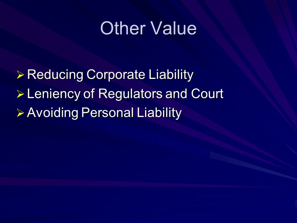 Other Value Reducing Corporate Liability