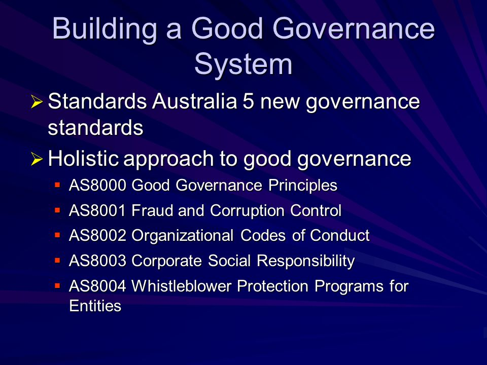 Building a Good Governance System