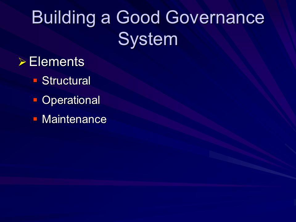 Building a Good Governance System