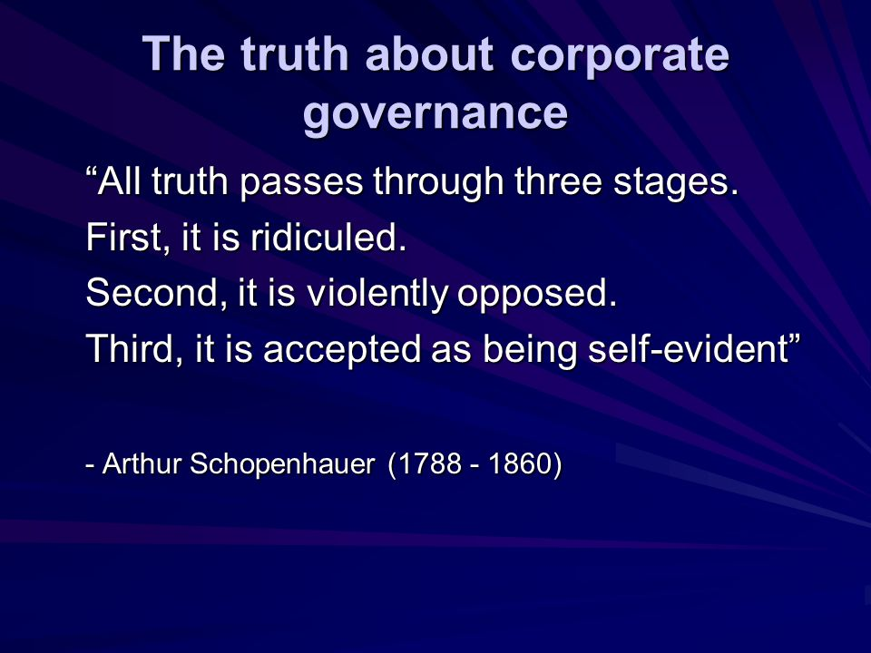 The truth about corporate governance