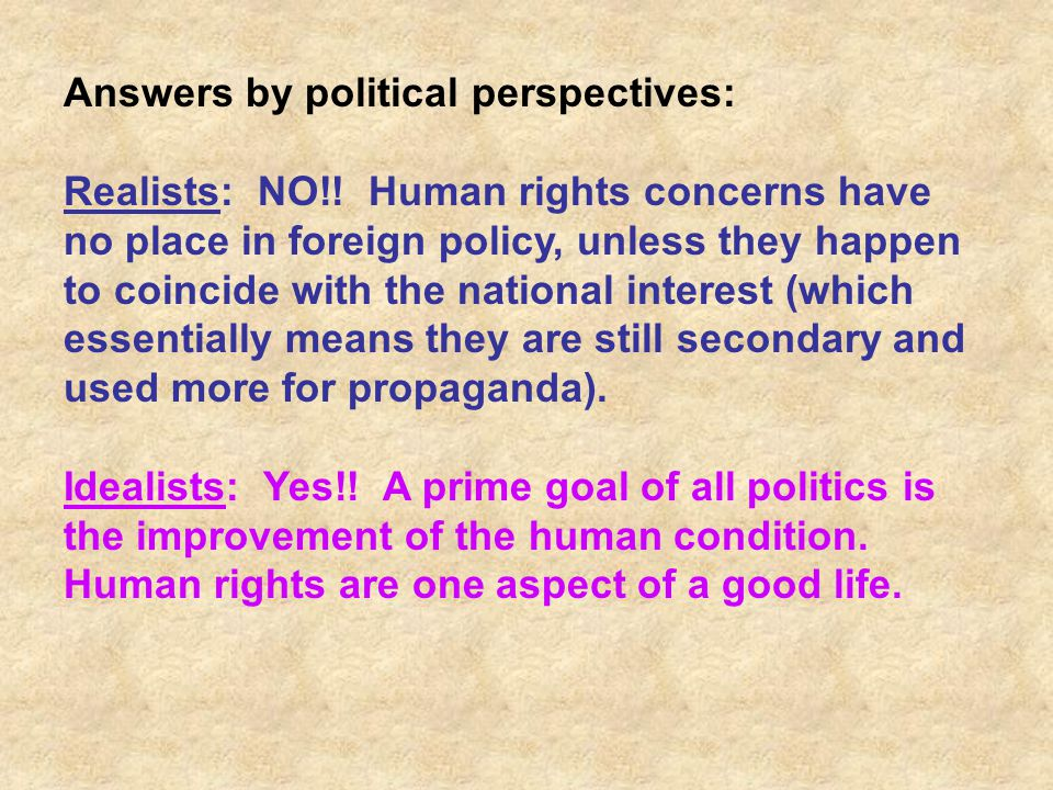 Answers by political perspectives: