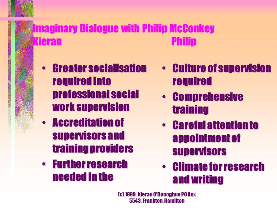 Imaginary Dialogue with Philip McConkey Kieran Philip