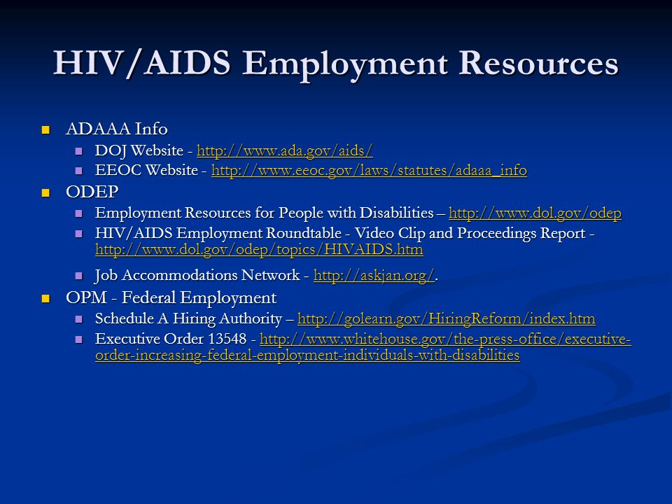 HIV/AIDS Employment Resources