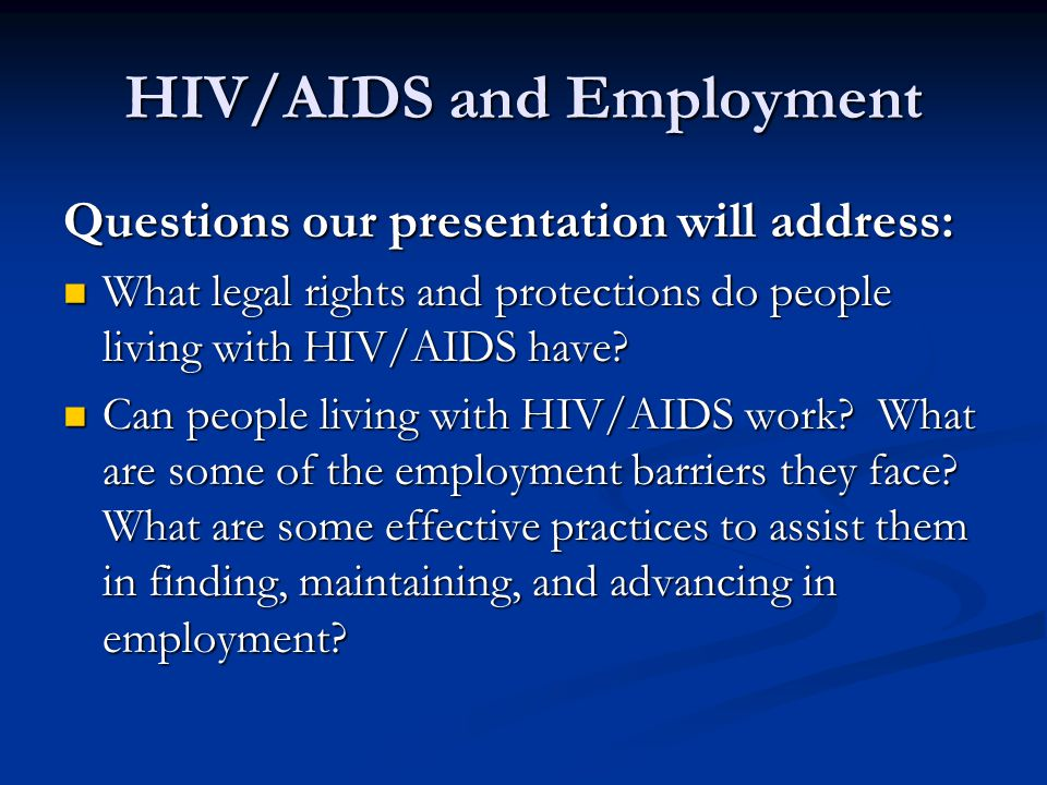 HIV/AIDS and Employment