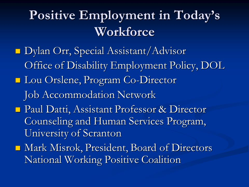 Positive Employment in Today's Workforce