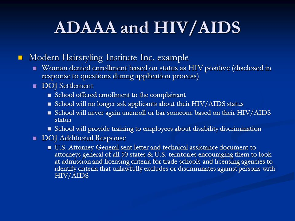 ADAAA and HIV/AIDS Modern Hairstyling Institute Inc. example