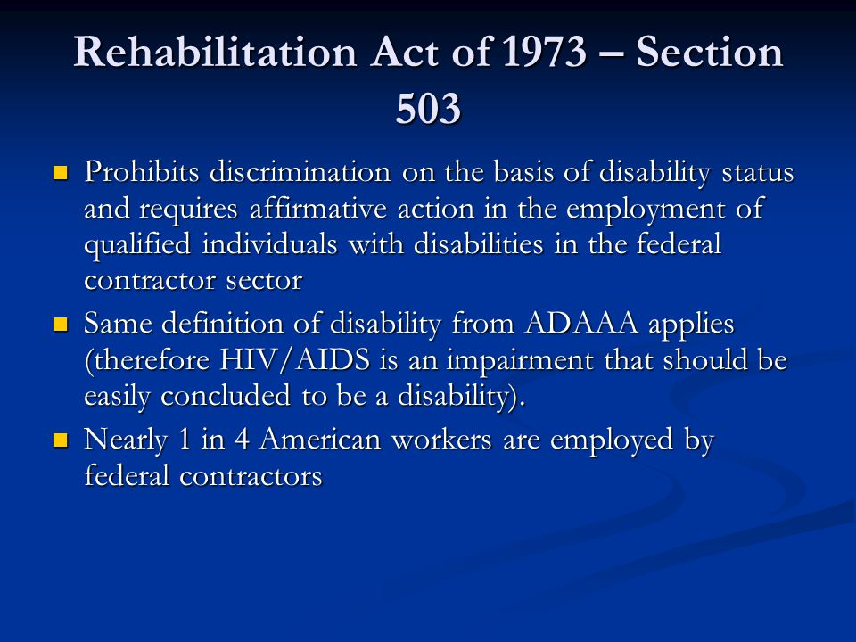 Rehabilitation Act of 1973 – Section 503