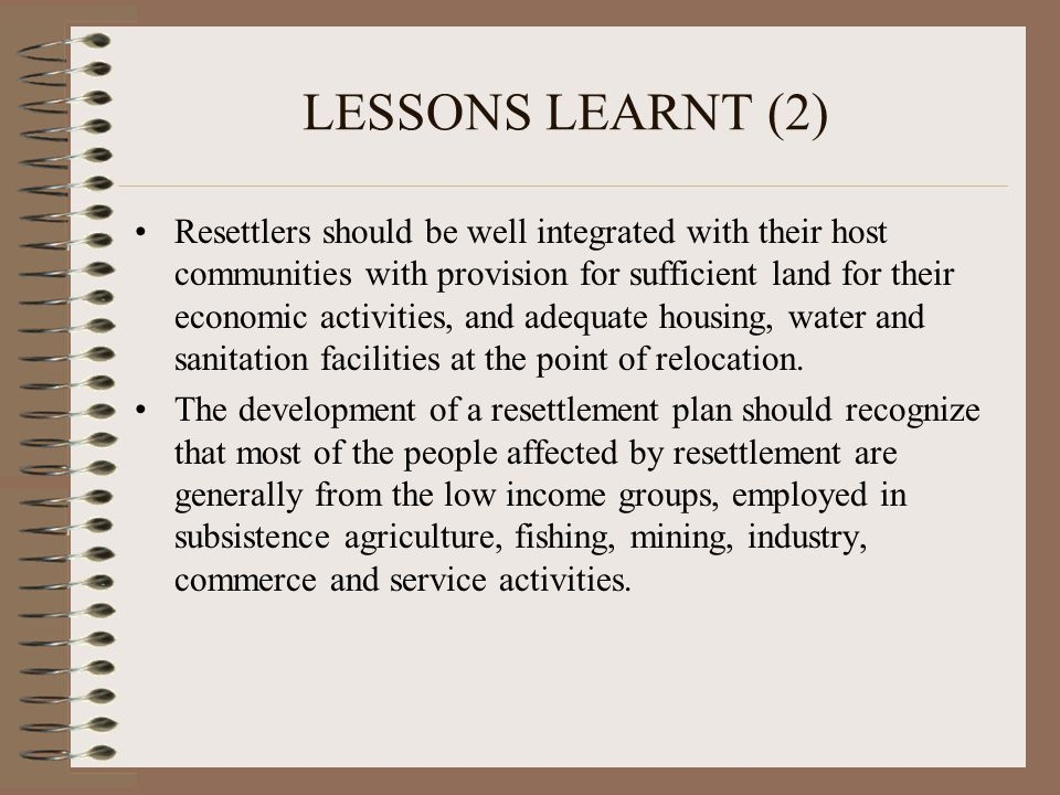 LESSONS LEARNT (2)
