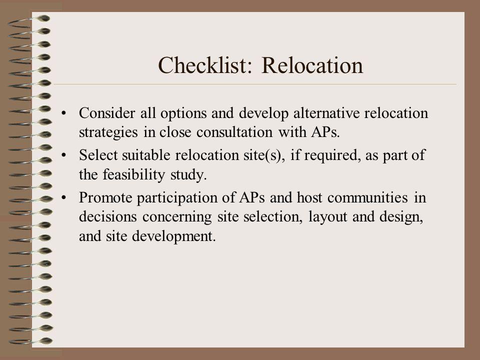 Checklist: Relocation