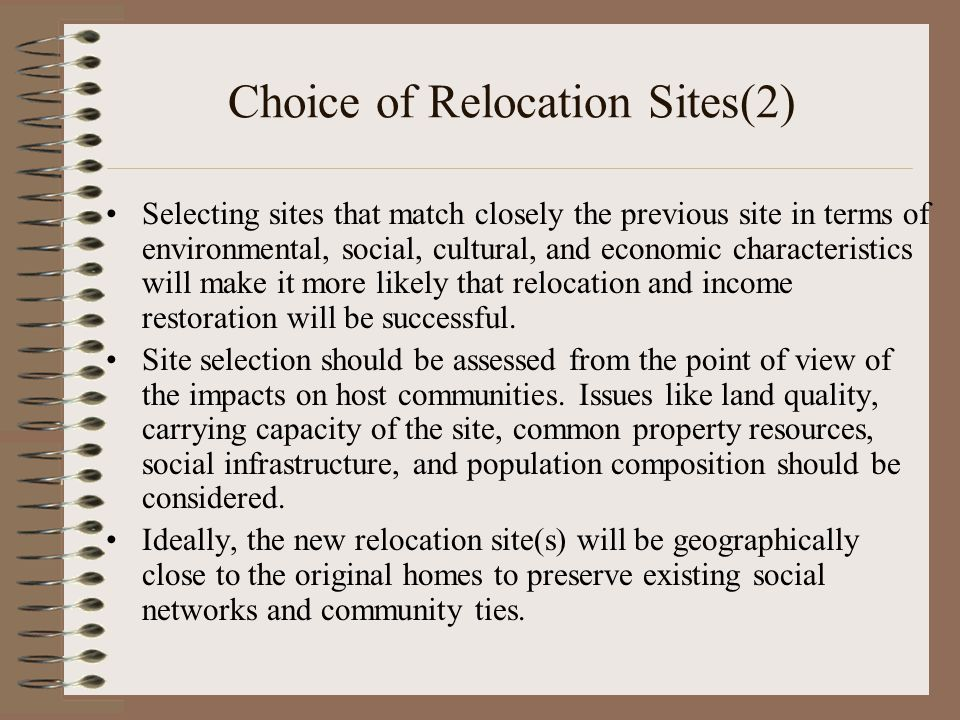 Choice of Relocation Sites(2)