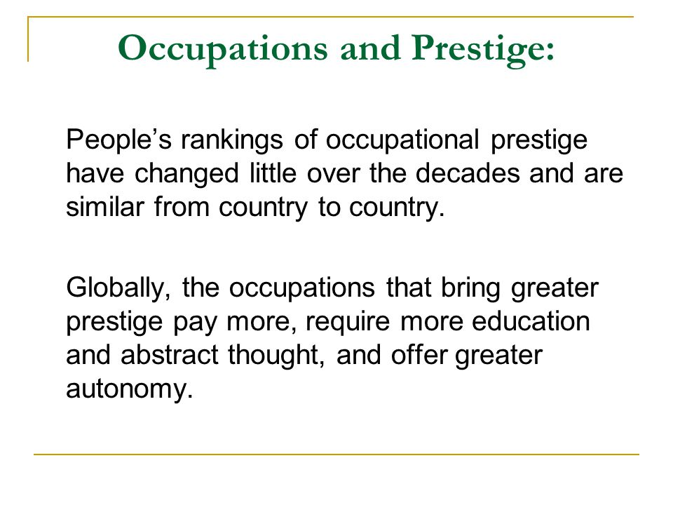 Occupations and Prestige:
