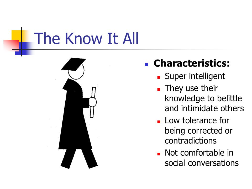 The Know It All Characteristics: Super intelligent