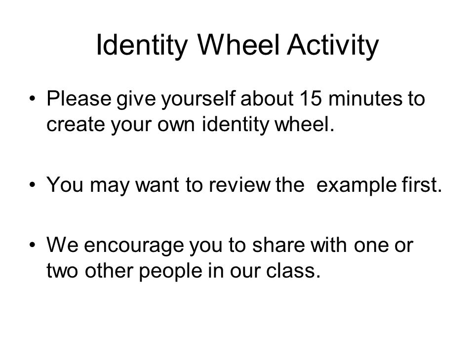 Identity Wheel Activity