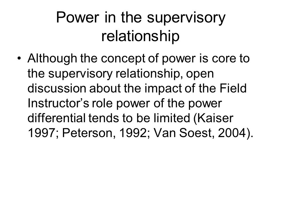 Power in the supervisory relationship